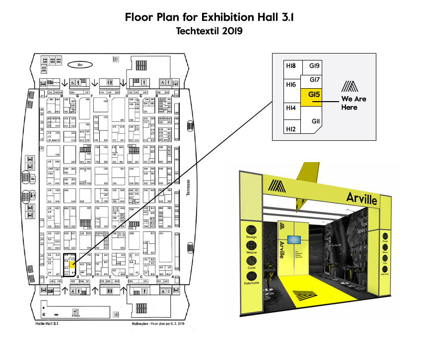 Arville at Techtextil 2019, floor plan